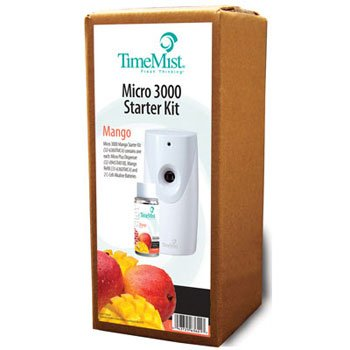 TimeMist 3000 Shot Micro Starter Kit, Mango, White/Gray - one kit containing one dispenser, one refill and two C-cell ()