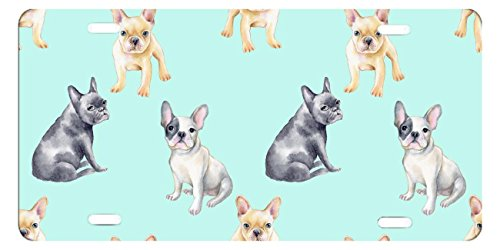 "DQVWGK Pattern Of French Bulldog Pet Puppy Custom Aluminum License Plate Frames Cover For Car License Plate Cover With 4 Holes Car Tag 6""x12"""