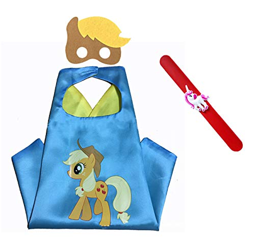 (Raclove My Little Pony Costume Set—Cape, Mask and Pops Ring. for Age 4-10 Kids Boys and Girls. Wonderful Dressing up Gifts for Halloween Birthday Party Superhero Day and Play Day)