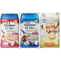 Gerber Lil 'Bits Baby Cereal 3 Paquete de Variedades de Sabor: (1) Lil' Bits Oatmeal Banana Fresa, (1) Lil 'Bits Cereal de Trigo Integral Manzana, (1) Lil' Bits Oatmeal Apple Cinnamon Cereal, 8 Oz. Cada uno (3 cajas de cereales)