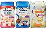 Gerber Lil' Bits Baby Cereal 3 Flavor Variety Bundle: (1) Lil' Bits Oatmeal Banana Strawberry, (1) Lil' Bits Whole Wheat Cereal Apple Blueberry, (1) Lil' Bits Oatmeal Apple Cinnamon Cereal, 8 Oz. Each (3 Cereal Boxes)