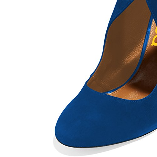 Fsj Women Stylish High Heel Pumps Punta Tonda Stiletto In Pelle Scamosciata Tagliata Con Cerniera Scarpe Taglia 4-15 Us Blu