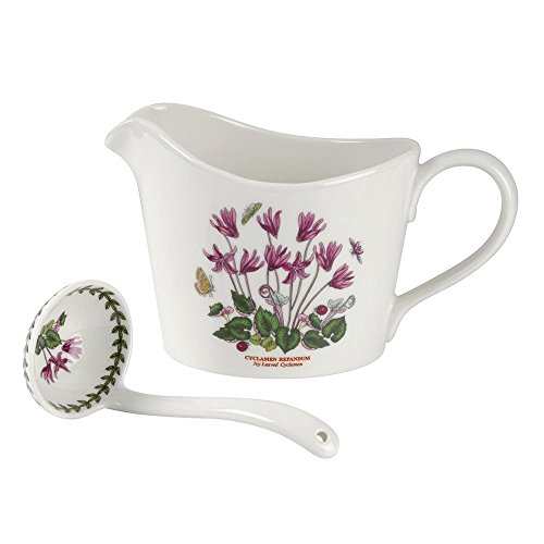 Jug Garden - Portmeirion 632806 Botanic Garden Sauce Jug & Ladle, White