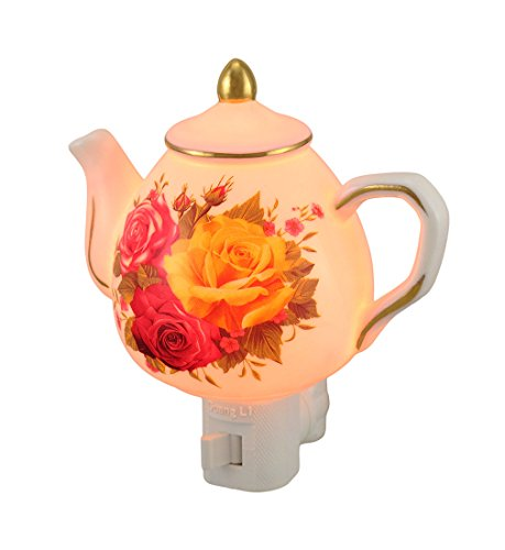 Porcelain Childrens Night Lights Floral Teapot Shaped Porcelain Night Light 2.5 X 5 X 4.5 Inches (Hand Painted Floral Plug)