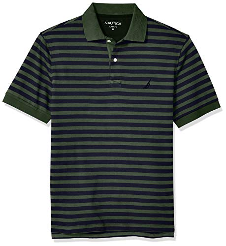 Nautica Men's Classic Fit 100% Cotton Soft Short Sleeve Stripe Polo Shirt, Pine Forest, Large