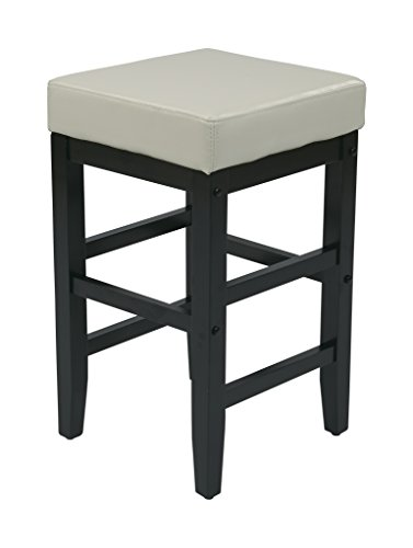 Office Star Metro Faux Leather Square Barstool with Espresso Legs, 25-inch, Cream ()