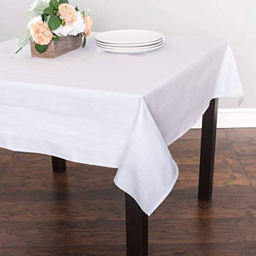 Table Cloths for Parties Rectangular Tablecloth Microfiber Polyester Fabric for Party Weeding Small Tablecloth Wedding Tablecloths Cotton (60 X 60 Inches,White Solid)