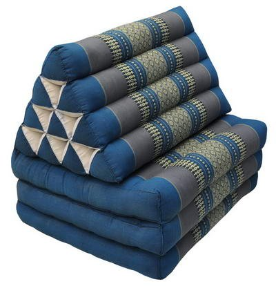 Kapok Thaikissen, Yogakissen, Massagekissen, Tantrakissen, Sitzkissen, Strandkissen, Meditationskissen - Blau Grau (Dreieck mit drei Auflagen 52x50x45)