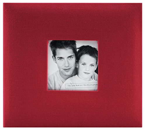 MBI Paper Fashion Fabric Post Bound Album 8-inch x 8-inch, Sky Blue Red
