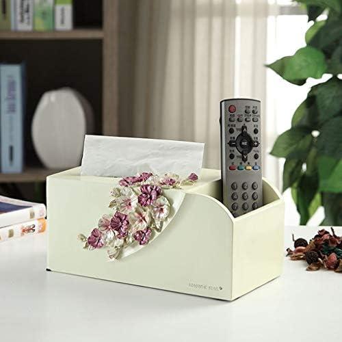 LFOZ Haushalt Tissue Box Multi-Funktions-Fernbedienung, Handy Storage Box Einfache Resin Bookbox Beige Blau Tissue Box Cover Gesicht (Color : Beige)