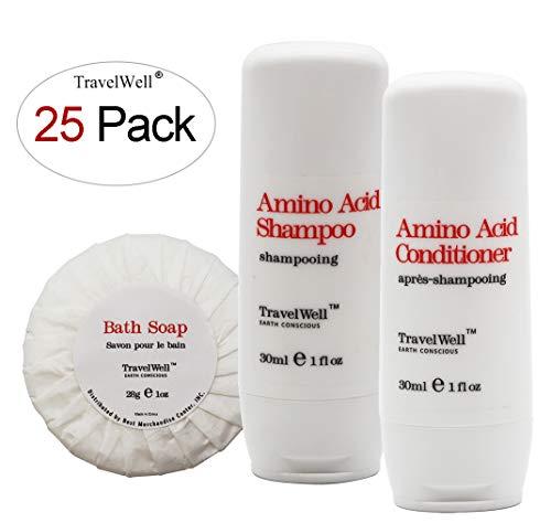 TRAVELWELL Individually Wrapped 30ml Shampoo 25 Bottles + Co