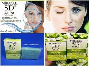 1 X 80g. Gluta Soap Explosion Acne Freckles Dark Spot Miracle 5d Aura Whitening Scars ( Reduce Freckles Dark Spots in 5 (Avalon Bar Set)