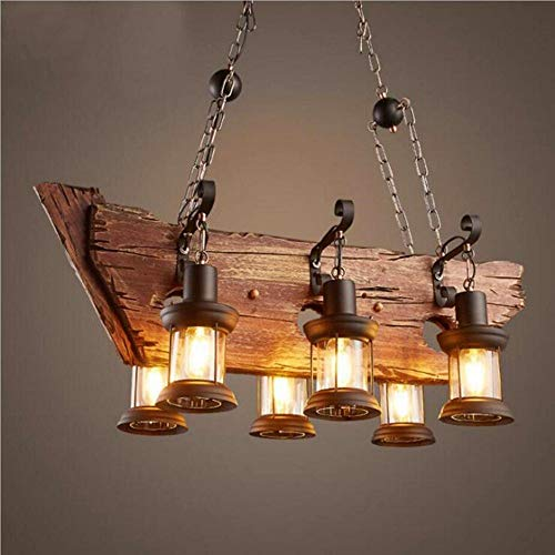 NIUYAO 6 Heads Vintage Wooden Lantern Chandeliers,Retro Industrial Style Island Light Pendant Hanging Light for Dining Rooms,Chandeliers for Living Room 511207