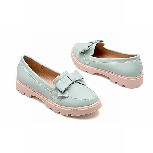 Carolbar Womens Adorable Bows Elegance Sweet Cuff Casual Barbie Style Fashion Loafer Flats Blue Y1giB