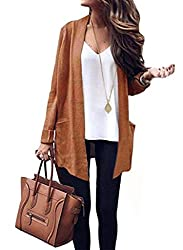 Vinciney Women S Long Sleeve Knitted Long Cashmere Cardigan Sweaters Outerwear With Pocket M Khaki