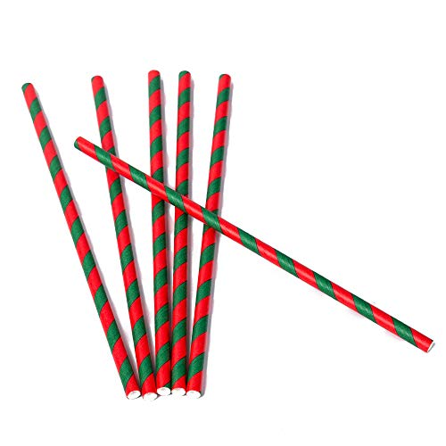 200 Pack Orange and Black, Black and White Striped Paper Straws for Halloween Party Supplies for Kids Adult Accessories Biodegradable Vintage Drinking Birthdays Parties Celebrations (Red and Green) -