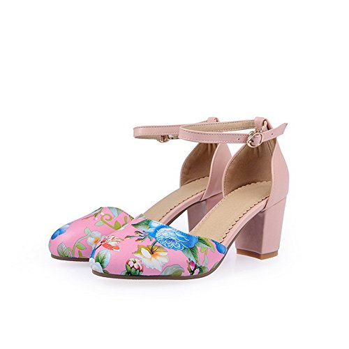 Adee Girls Animal-Print Round-Toe Polyurethane Sandals Pink fNUBda