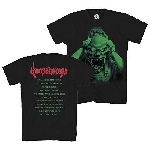 Goosebumps Mens Horror Mask Shirt Book List Front and Back Mens T-Shirt (Black, -