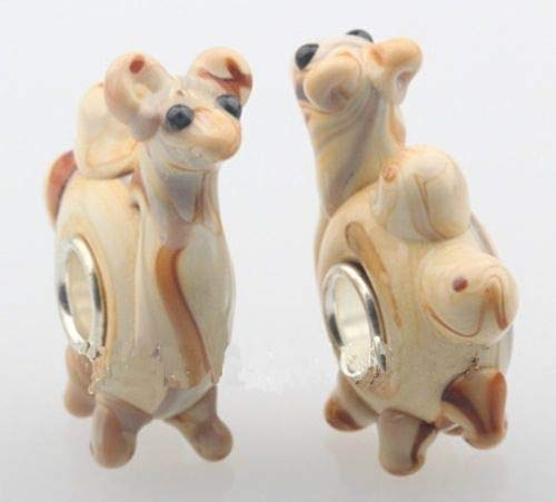 Pendant Jewelry Making Camel 3D Animal Lampwork Glass 28mm Single Core Large 4.5mm Hole Charm Bead