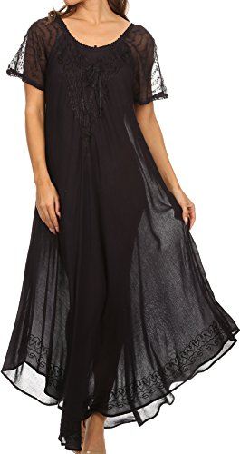 Sakkas 16602 - Shasta Lace Embroidered Cap Sleeves Long Caftan Dress/Cover Up - Navy - OS