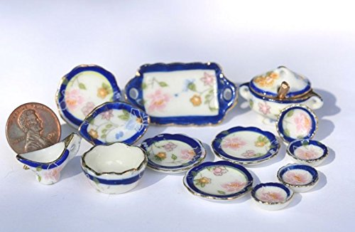 Dollhouse Miniature Clearance Blue & Gold Floral Ceramic Dinner Set - Floral Tureen