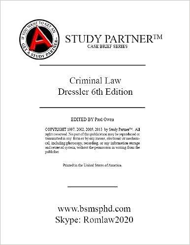 Download Case Briefs Criminal Law Dressler 6th (Case Briefs by Rom Law) PDF