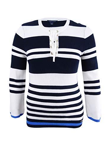Tommy Hilfiger Cotton Lace-up Sweater (Sky Captain Multi, XL)
