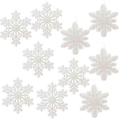 Large Snowflakes - Set of 10 White Glittered Snowflakes - Approximately 12 diam - 2 Assorted Designs - Snowflake Window Decor - Winter Decorations