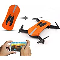 ShenStar JY018 Folding Drone with 0.3MP/2MP Wifi Camera Wifi Control One Key Return Quadcopter RC Helicopter Pocket Drone (2MP Orange)
