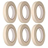 Masking Tape, Easy Peel, Tear Tape - .75 inch Width x 60 Yards Length - Great for Packing, Labeling and More, Clean Adhesive - 6-Pack