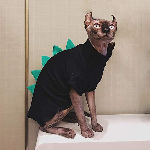 Dinosaur Design Sphynx Hairless Cat Clothes Cute Breathable Summer Cotton Shirts Cat Costume Pet Clothes,Round Collar Kitten T-Shirts with Sleeves, Cats & Small Dogs Apparel 19