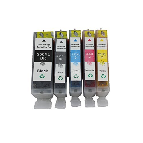 INKTONER 5 Pack Ink Cartridges + smart chip for Canon PGI-250XL CLI-251XL MG5420 MG5400