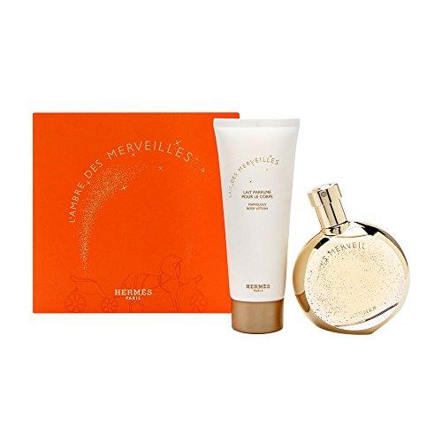 L'Ambre Des Merveilles by Hermes for Women 2 Piece Set Includes: 1.6 oz Eau de Parfum Spray + 2.5 oz Perfumed Body Lotion (Hermes Vanilla Perfume)