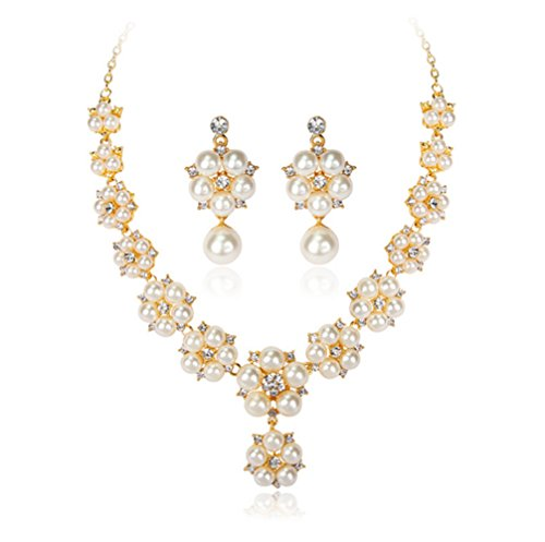 YiYi Operation Infinity Pearl Crystal Necklace Drop Dangle Earrings Pearl