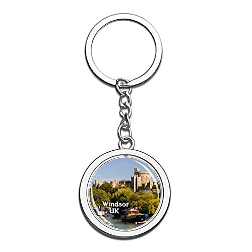 Windsor Castle UK England Keychain 3D Crystal Creative Spinning Round Stainless Steel Keychain Travel City Souvenir Collection Key Chain -
