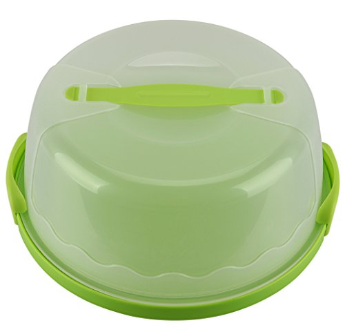 "HelloCupcake Portable Cake and Cupcake Carrier / Storage Container - 10.4"" Diameter (Inside Cover), Translucent Dome - Perfect for Transporting Cakes, Cupcakes, Pies, or Other Desserts (Green)"