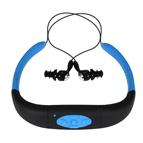 Waterproof MP3 Headphone, Yikeshu 8G IPX8 Waterproof Headphone Underwater Sport MP3 with FM Radio Music Player for Swimming Stereo Headset 3-5 Meter Diving Surfing Running (Blue)