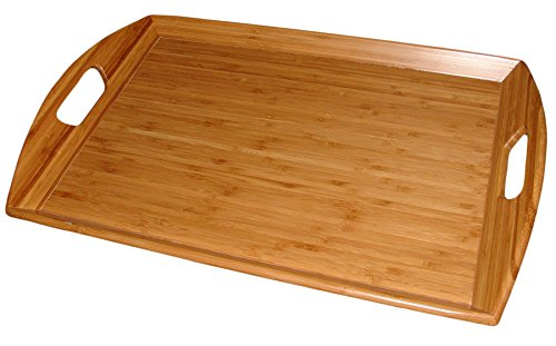 "Totally Bamboo Serving Tray, 100% Organically Grown Bamboo Wood - Multi - Functional Wooden Butlers Tray with Handles, 23"" x 15"" x 5"""