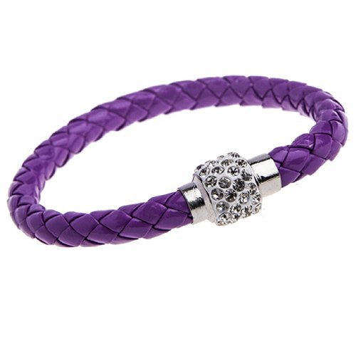 BodyJ4You Pu Leather Bracelet Purple Braided with Crystal