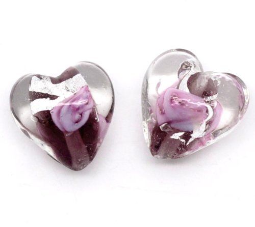 Housweety 50 Lampwork Glass Color-Lined Foil purple Heart Beads (Foil Lined Glass Beads)