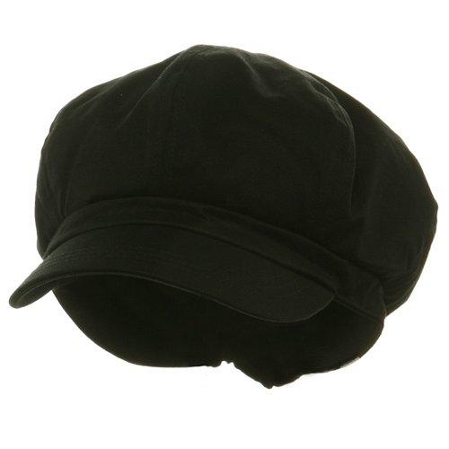 Cotton Lined Cap (Big Size Cotton Newsboy Hat - Black (For Big Head))