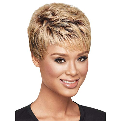 - Short Straight Wig Pixie Cute Cut Human Hair Wig for Black Women Straight Natural Brown Wigs Mother's Day Gifts