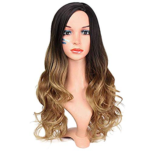 Wig Brown Ombre Black Roots Wavy Curly Hair Synthetic Women Natural Fluffy Heat Resistant Curls Ladies Cosplay Halloween Party, 65cm ()