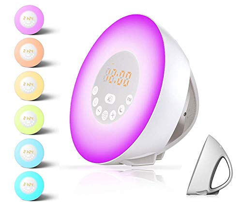 Alarm Clock,Wake up Light For Kids,Best Sunrise FM Radio Alarm Clocks with USB Charger,sunlight and Sunset simulator Sleep Night Light with 6 Nature Sounds Digital Alarm Clock For Heavy Sleepers by Burning Sister