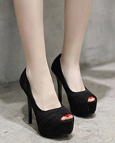 Peep Noir Banquet 14cm Aisun Couleur Toe Femme Sandales Sexy Fille Unie ZxwHHqEvnF