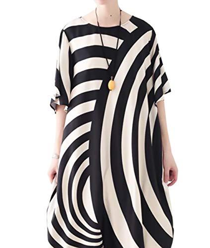 YESNO JCT Women Long Loose Maxi Dress Striped Sheer Dress Bat-Wing Sleeve (Silk Dress Long)