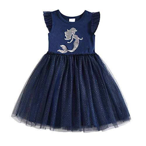 DXTON Toddler Tutu Dress Navy Blue Summer Short Sleeve Party Dresses SH4550NAVY 5T