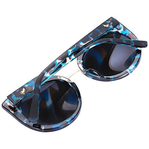 UV400 Gafas de rosado gato de sol Negro sombras de sol espejo verano S17023 azul marco SODIAL Marmoleado mujer gafas de de ojo de clasicas Gafas moda Lente dSqnRXz