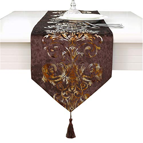 Brown modern gold floral hemstitch tapestry table runners 100 inch approx velvet fabic (Inch Runner Table 100)