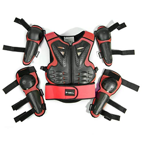 Kids Motorcycle Riding Protective Gear Armor Suit for Motocross Cycling Skiing Skateboarding Roller Skating (Red) (Motocross Shoulder Pads)